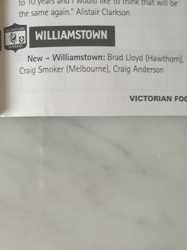 Season Summary: 2000 - Williamstown Football Club